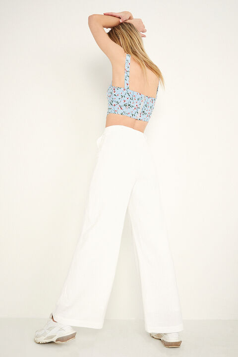 PIN TUCK PANT in colour CLOUD DANCER