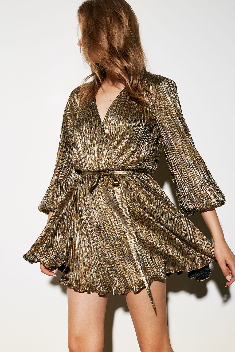 BELLISSA PLEAT DRESS in colour CANDIED GINGER