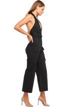 HALTER BUCKLE JUMPSUIT in colour CAVIAR