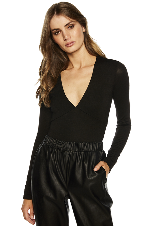 PLUNGE LONG SLEEVE BODYSUIT in colour CAVIAR