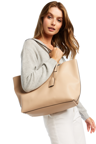 LEATHER TOTE BAG in colour BEIGE