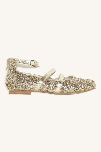 DOUBLE STRAP GLITTER BALLET FLAT in colour GOLD EARTH