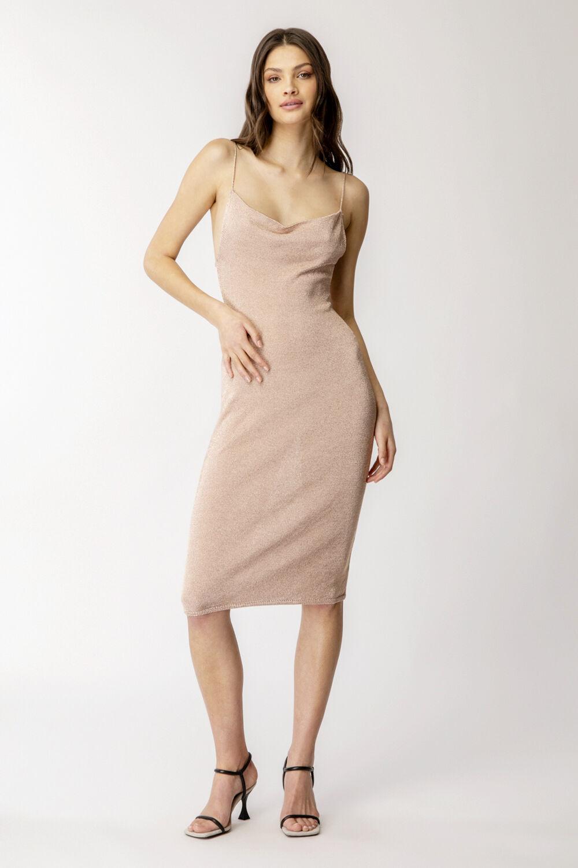 LUREX MIDI KNIT DRESS in colour ROSE CLOUD