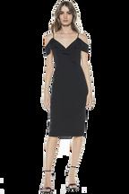 RAENE FRILL DRESS in colour CAVIAR