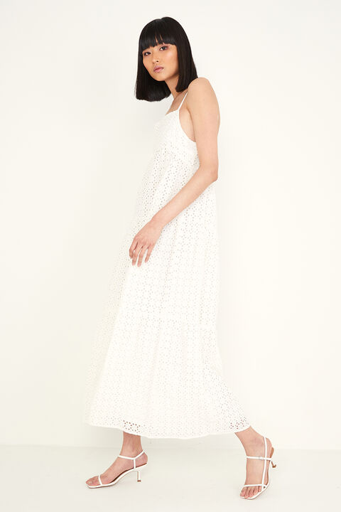 BRODERIE FLOW DRESS in colour CLOUD DANCER