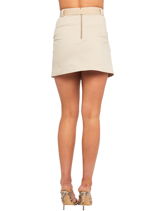 PLEAT FRONT MINI SKIRT in colour SILVER CLOUD