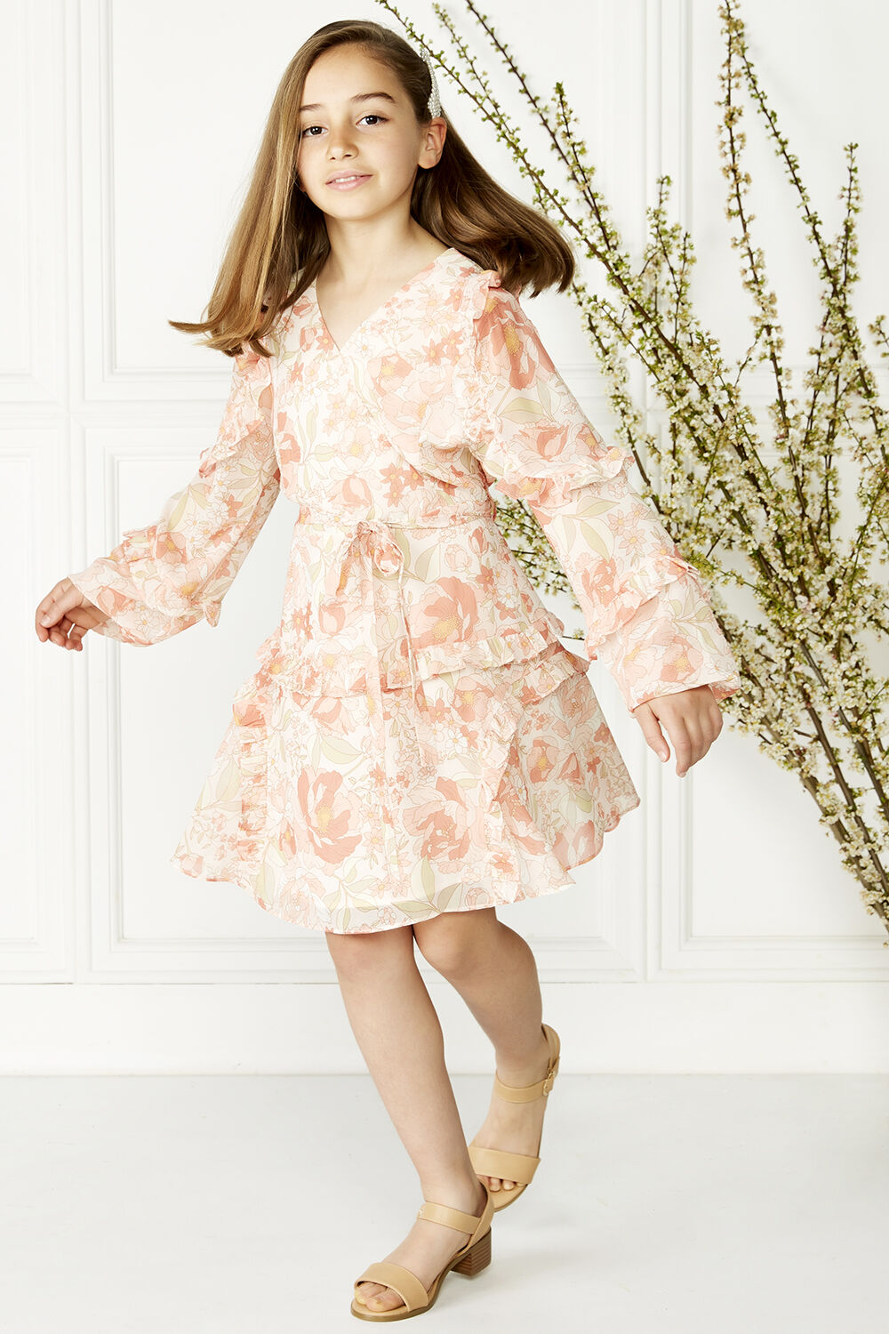 LOLA RUFFLE DRESS in colour PEACH MELBA