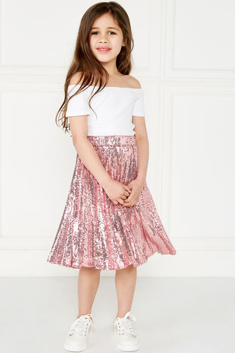 IVA SEQUIN PLEAT SKT in colour PALE DOGWOOD