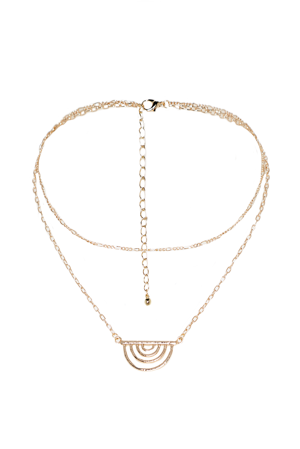 DOUBLE CHAIN NECKLACE in colour GOLD EARTH