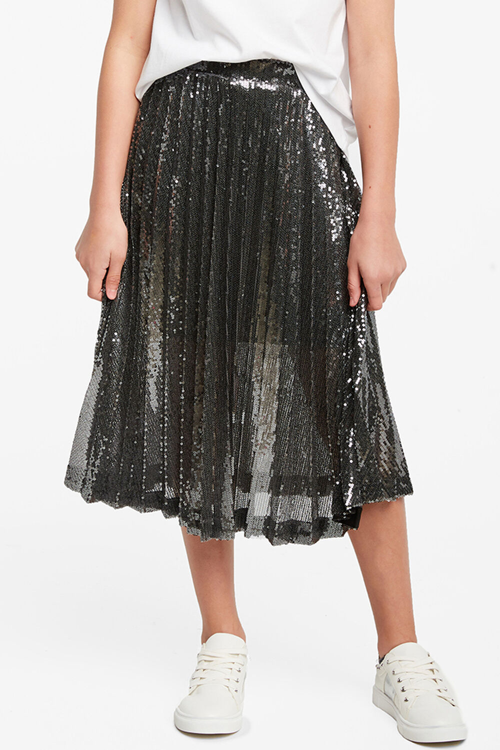 IVA SEQUIN PLEAT SKIRT in colour GLACIER GRAY