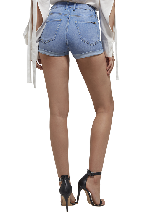 ERIN ROLL HEM DENIM SHORT in colour DREAM BLUE