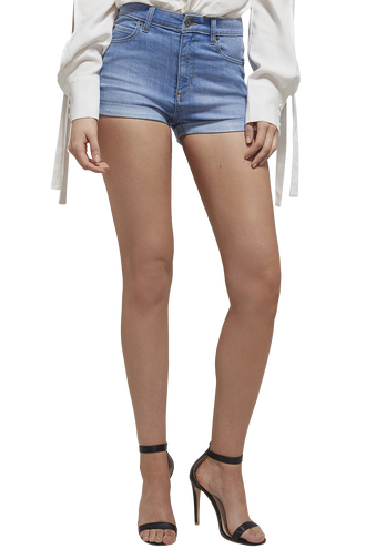 ERIN ROLL HEM SHORT in colour DREAM BLUE