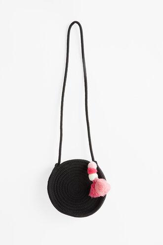 BLACK ROUND TASSEL BAG in colour CAVIAR