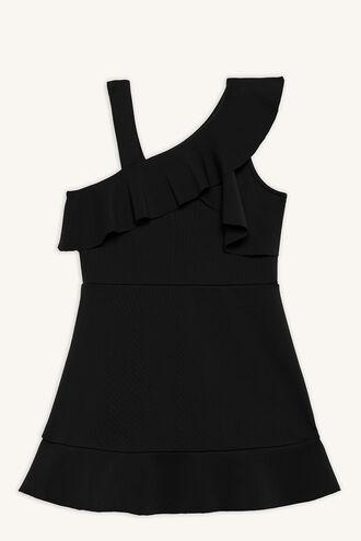 LAYLA RUFFLE DRESS in colour JET BLACK