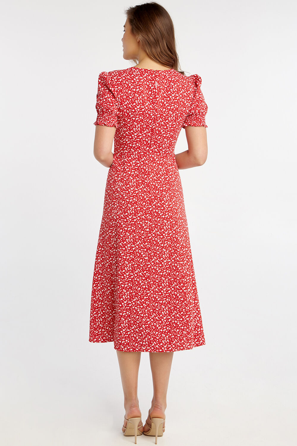 MILLIE FLORAL DRESS in colour RIBBON RED