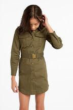 ELLE UTILITY DRESS in colour OLIVINE