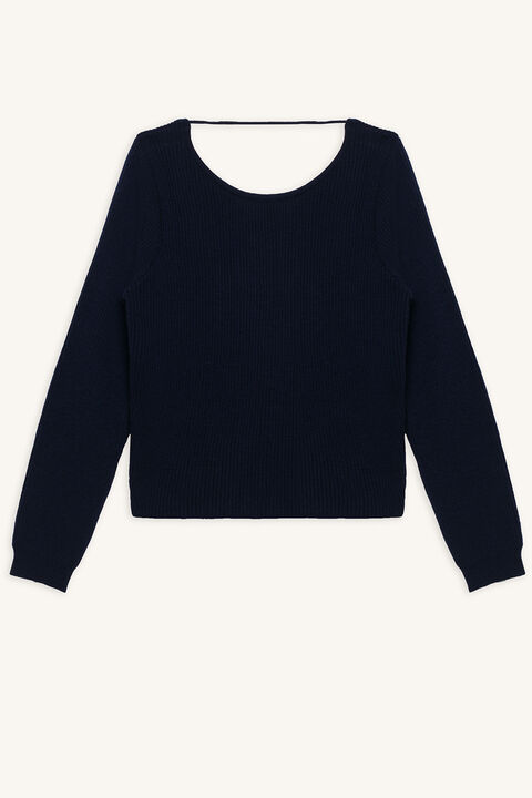 KNOT BACK SWEATER in colour DRESS BLUES