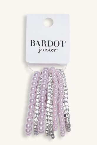 PEARL &DIAMANTE STRETCH BRACEL in colour PINK CARNATION