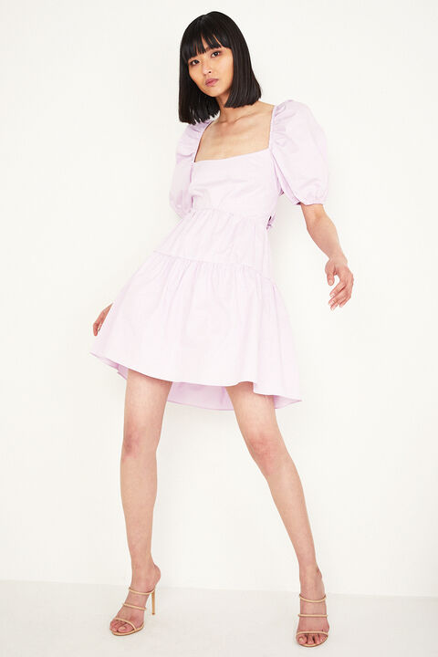 TIERED MINI DRESS in colour GRAY LILAC