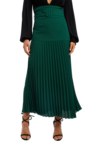 BUCKLE PLEATED SKIRT in colour DARK GREEN