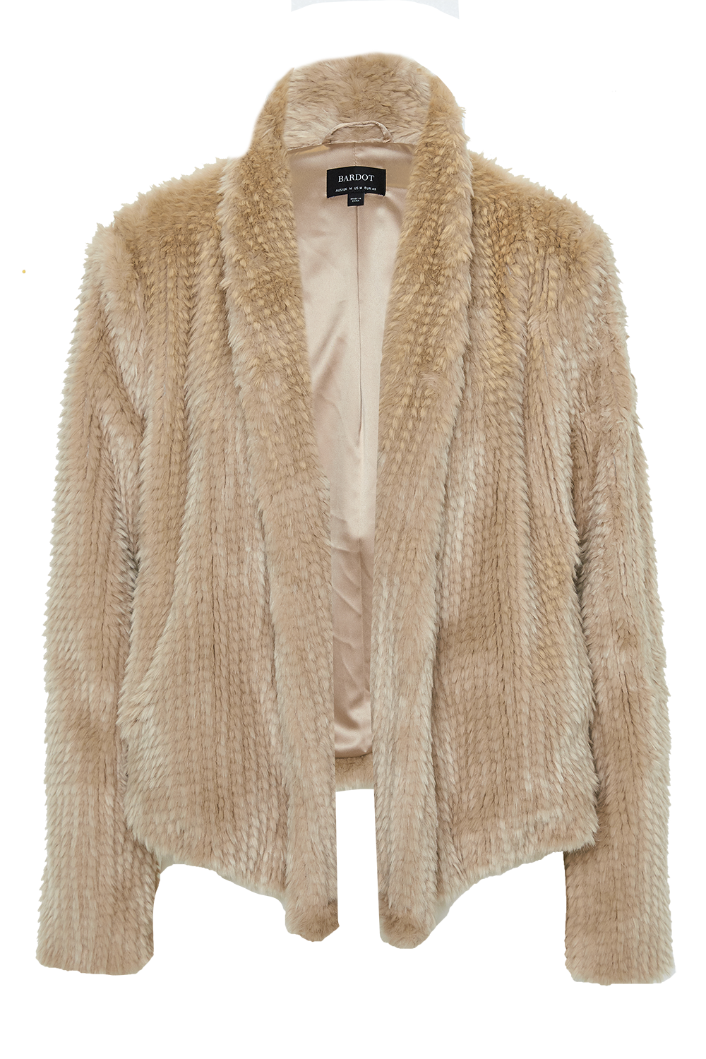 WATERFALL FAUX FUR JACKET in colour TAPIOCA