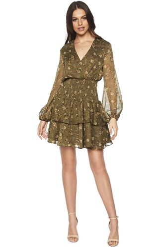 DITSY SHIRRED DRESS in colour BURNT OLIVE