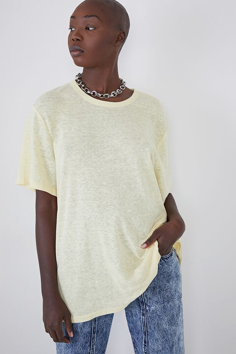 OVERSIZED LINEN BLEND TEE in colour TRANSPARENT YELLOW