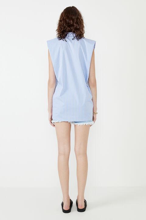 STRIPE SHOULDER PAD SHIRT DRESS in colour BURNT OLIVE