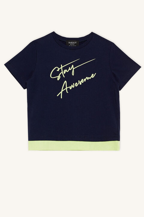 STAY AWESOME TEE in colour BLACK IRIS