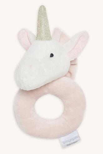 UNICORN RING RATTLE in colour WHITE ALYSSUM