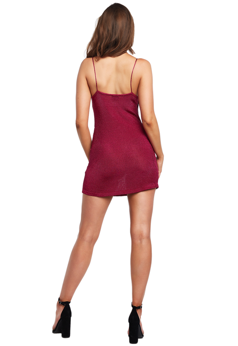 DANI LUREX MINI DRESS in colour FUCHSIA PURPLE