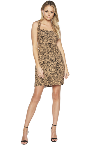 LEOPARD FRILL DRESS in colour CAVIAR