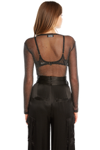 LUREX MESH BODYSUIT in colour CAVIAR
