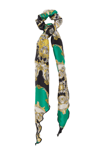 SCRUNCHIE SCARF CHAIN PRINT in colour GREEN ASH