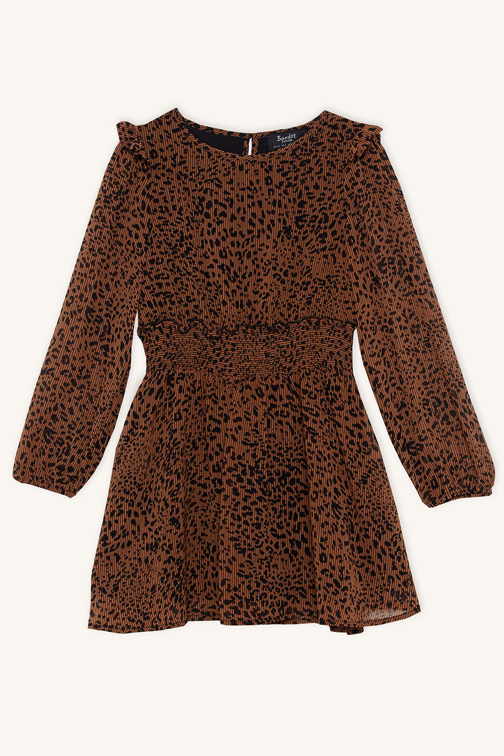 CICELY SHIRRED DRESS in colour TOBACCO BROWN
