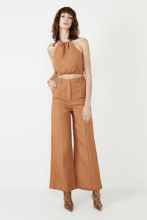 PIN TUCK PANT  in colour TAN