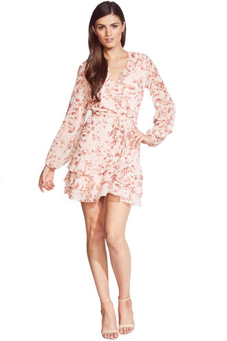 TRIPLE FRILL DRESS in colour PEACH MELBA