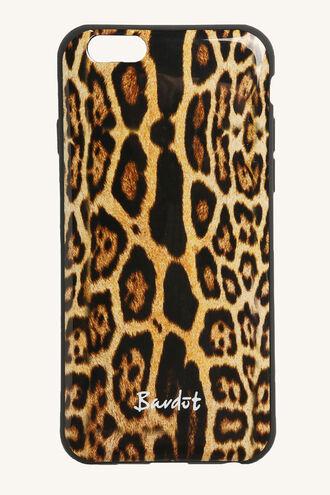LEOPARD PHONE COVER in colour BONE BROWN