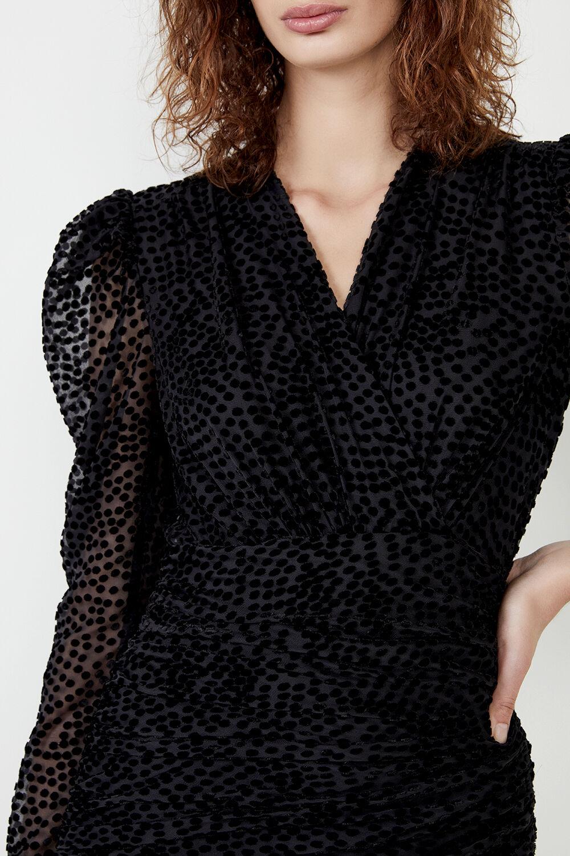 SPOT VELOUR MINI DRESS  in colour CAVIAR