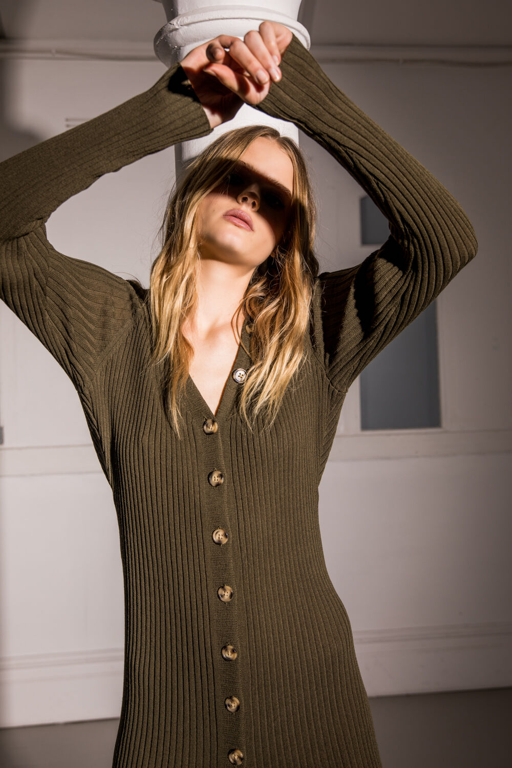 BUTTON FRONT KNIT DRESS in colour IVY GREEN