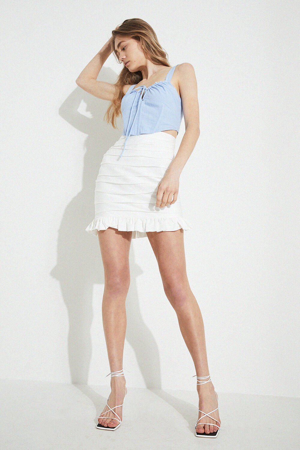 MINI ROUCHED SKIRT in colour BRIGHT WHITE