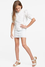 TWEEN GIRL LUCY TRIM BLOUSE in colour CLOUD DANCER