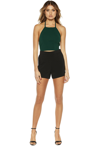 HALTER KNIT TOP in colour EVERGREEN