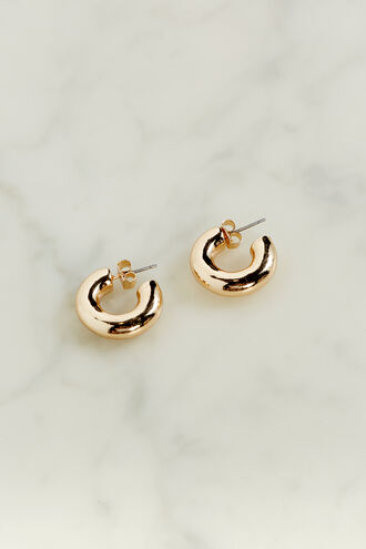 BASIC THICK MINI HOOP EARRING in colour GOLD EARTH