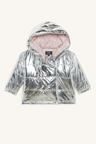 METALLIC PUFFA JACKET in colour LUNAR ROCK