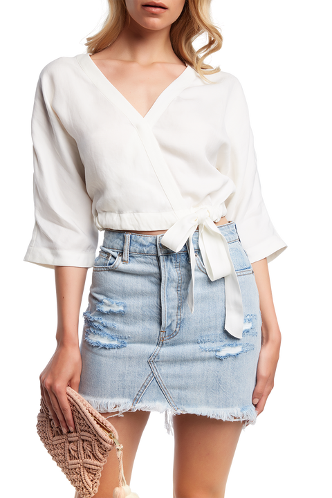 BELLA WRAP TOP in colour SNOW WHITE