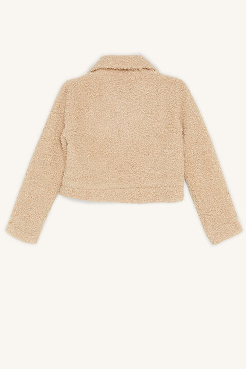 CROP SHERPA JACKET in colour TAN