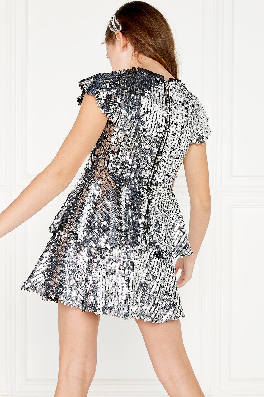 LEILA SEQUIN DRESS in colour LUNAR ROCK