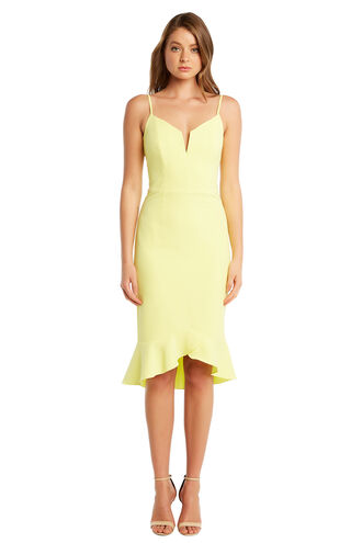 KRISTEN PEPLUM DRESS in colour LIMELIGHT