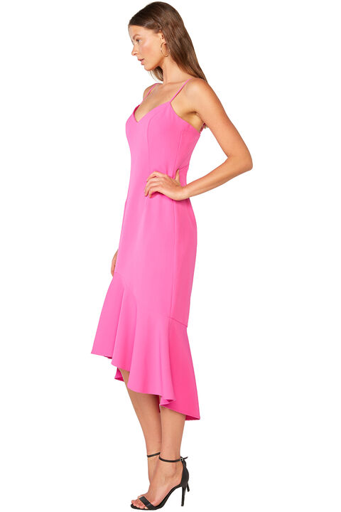 LISANDRA MIDI DRESS in colour SHOCKING PINK